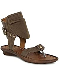 Catwalk Grey Leather Sandals for Women's