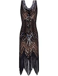 Metme Women's 1920s V Neck Beaded Fringed Gatsby Theme Flapper Dress Prom