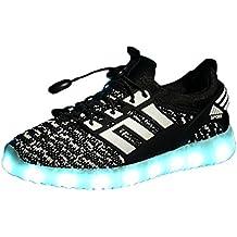 Usay like Envio 24 Horas Nuevos Modelos Zapatillas LED con 7 Colores Luces Carga USB Blanco Negro Dorado Plateado Rojo Hombre Mujer Niños Unisex Talla 25 Hasta 46 Envio Desde España