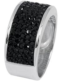Burgmeister Jewelry Damen-Ring Band 925/-Sterling Silber rhodiniert, Swarovski schwarz