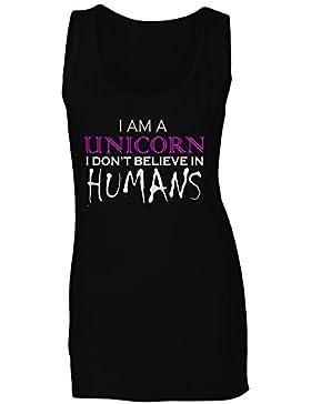 Soy un unicornio que no creo a los seres humanos divertidos camiseta sin mangas mujer ii25ft
