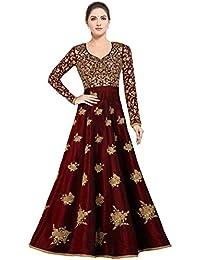 Siddeshwary Fab women's Bangalore Silk Anrkali Gown (semi stitched_free Size)