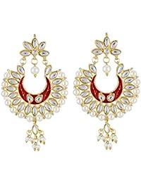 Aradhya Stylish High Quality Traditional Red Kundan Chandbalis Earrings For Women & Girls