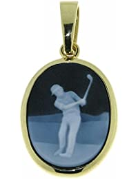 Derby Anhänger Gemme Achat Golfspieler 20 x 15 mm Kamee 14 Karat (585) Gelbgold - 13188