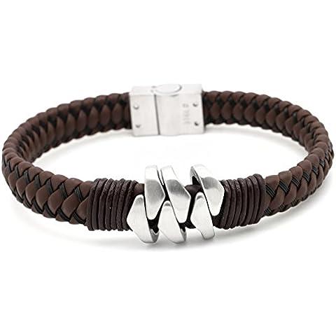 & in pelle, bracciale in acciaio con Suay confezione regalo - Pelle Marrone Id Bracciale