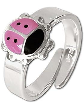 CLEVER SCHMUCK Silberner Kinderring Marienkäfer rosa und schwarz lackiert glänzend STERLING SILBER 925