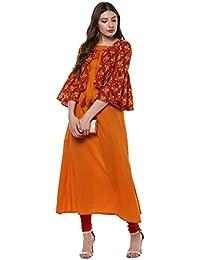 Janasya Women's Mustard Cotton A-Line Floral Print Kurta With Jacket