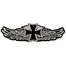 Aufnäher / Bügelbild - Chopper Kreuz Biker - schwarz - 12,2 x 3,9 cm - Patch Aufbügler Applikationen zum aufbügeln Applikation Patches Flicken