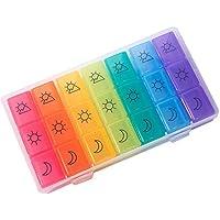 Preisvergleich für BPA Frei Tablettenbox 7 Tage 3 Fächer Morgens Mittags Abends Woche Tabletten Aufbewahrung Pillendose Wochendispenser...