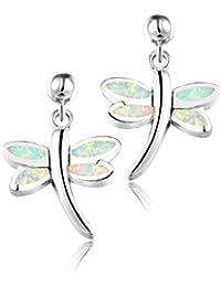 Dormith® Plata de ley 925 pendientes para las mujeres Ópalo blanco sintético Dragonfly pendiente de