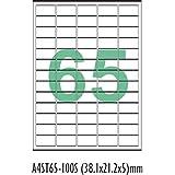 Desmat A4 Size Paper Labels For Laser, Inkjet & Copiers (65 Label Sheet)(Pack Of 50 Sheets)