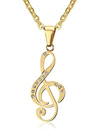 Asma 18K Gold Plated CZ Unisex Stainless Steel Musical Note Pendant Chain Necklace For Women