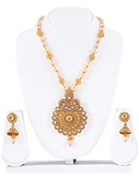 Mukh Gold Plated Necklace Set With Kundan Pearls And Earrings