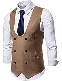 Logobeing Chaleco Hombre Blazers Botón Casual Traje Chaqueta Sin Mangas  Formal Negocios Slim Fit Suit Abrigo b5f1c8ed8e0