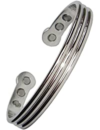 Magnetic Bracelets - Bangles - Mens / Womens - Copper, Steel, Gold/Silver or Polished Silver colour (Polished Silver)