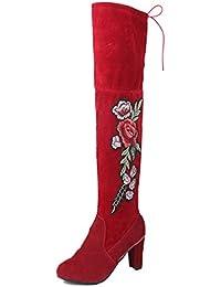 499f79a1f68ef Minetom Mujer Atractivo Invierno Flores De Bordado Retro Boots Zapatos De Tacón  Alto Altas Sobre Las Botas…