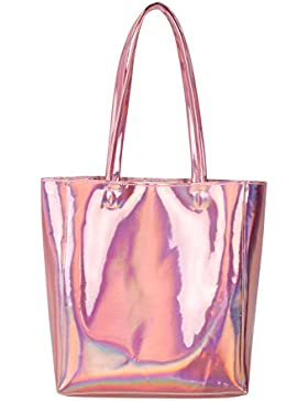 Choies Damen Handtasche Hologramm PU Shopper Taschen Casual Laser Henkeltasche Schultertasche