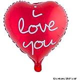 Folienballon rotes Herz 52 cm x 46cm mit der Aufschrift:i love you (ich Liebe Dich)