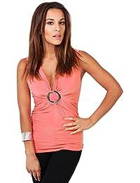 KRISP Damen Top, Wickel-Design mit Ring, gerafft, Jersey V-Ausschnitt
