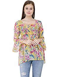 a3e454efe64 POPWINGS Casual Floral Print Square Neck Chiffon pom pom Yellow Women top