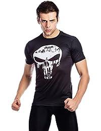 Cody Lundin® Marvel Comics 3D Ant-Man Castigador Logo Hombres para el Ejercicio Fitness y Deportes Medias de Compresión Manga corta Camiseta