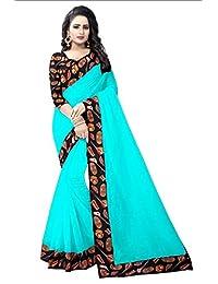 Radiance Star Women Firozi Color Chanderi Cotton Saree With Designer Border And Kalamkari Printed Benglori Silk...
