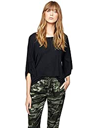 c2a0265812036 Sanctuary Womens Adrienne Knit Ruffled T-Shirt Black XL