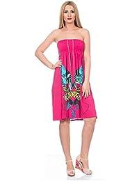 Vestido de Dama sin Mangas Blu Deise con Estampado de Mariposa y Cadenas