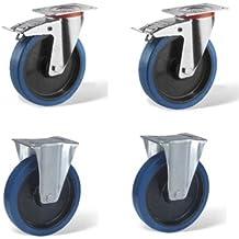 LOT14 4 ruedas, 2 pivotantes fijos y 2 pivotantes con freno, 100 mm de diámetro, caucho azul elástico - Rueda pivotante y fija, estructura de chapa de acero con zinc, llanta de caucho adherente con rodamiento circular, desplazamiento fácil, arranque fácil, manipulación difícil, silenciosa, no deja huellas, desplazamiento exterior