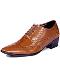 BXXY'S TAN HEIGHT INCREASING BRITISH FULL BROGUE SHOES FOR MEN