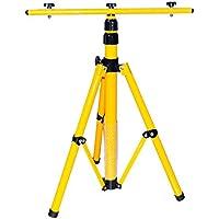 Trípode para focos led, focos halógenos, focos de construcción, etc., altura regulable hasta 1,60m, color amarillo