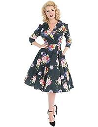 effd40017e1f48 Hearts & Roses London Deepest Green Vintage Retro 1950s Floral Flared Tea  Dress