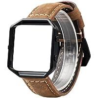 Wearlizer cinturino in pelle vintage di ricambio con telaio in metallo per Fitbit BLAZE, L Brown, Black Frame