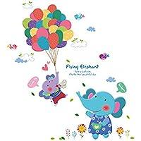Zhongyangfangdichan Juego de Accesorios de baño Globo Lindo del Elefante removible Etiqueta de la Pared Cuarto de los niños de Dibujos Animados