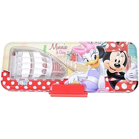 Precioso Disney de gran capacidad de la caja de lápiz de la pluma de negocios portátil doble Escritorio del estudiante Holder 82520-07 (Blanco