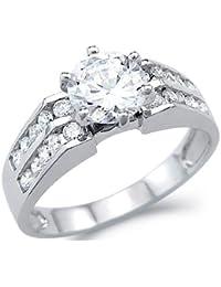 Sólido 14 K oro blanco solitario CZ Zirconia cúbico boda y anillo de compromiso corte redondo