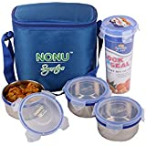 Nonu Signature Tiffin/ Lunch Box With 3 Stainless Steel Airtight Containers And 1 Airtight Glass/Tumbler