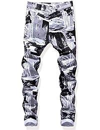 Pantaloni da Uomo in Denim da Uomo Ragazzo A Vita Media Micro Jeans Stretti  Micro Bomb Stampa di Moda retrò Jeans… 617137627ec8