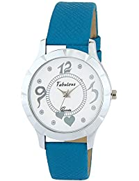 ONKAR FABULOUS-5000C A Beautiful Wrist Watch For Girls And Women In White DIAL And Blue Color Leather Strap. Watch...