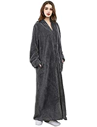 HAINE Unisex Full Zip Dressing Gown Shawl Collar Calf Length Fleece  Housecoat Women Men 765bfa84b