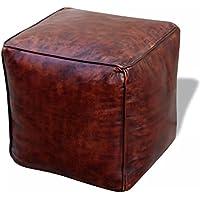 Lingjiushopping Puf cuadrado de auténtica piel 45x 45x 45cm Color Marrón Material exterior: piel auténtica