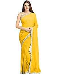 Fantastic Trendz Chiffon Saree For Women With Moti Border And Blouse Jari Silk