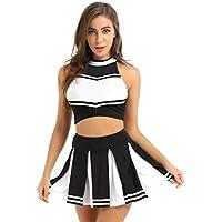 Yeahdor Traje Disfraz de Animadora Cosplay Uniforme High School Musical Disfraz Cheerleading Tenis Fútbol Crop Top + Falda Plisada Costume para Fiesta Chica