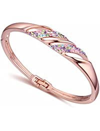 NEVI Czech Crystals Rose Gold Plated Kadaa Bracelet Jewellery for Women and Girls (Multi Colour)