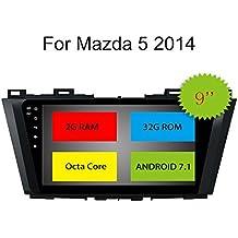 "Topnavi® 8 Core 2 GB 32 GB 9 "" Android 7.1 para Mazda 5 2014 coche estéreo Autoradio GPS SATa Navegación 1024 * 600 USB SD Radio de coche Bluetooth Pantalla táctil DAB Soporte WIFI 3G Teléfono Espejo AUX Subwoofer Audio AV Out SWC Cam-In OBD2 DAB+"