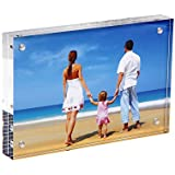 niubee acrílico magnético marco de fotos, de doble cara marco de fotos vertical y horizontal, libre de pie marco de fotos de sobremesa con imán (4x6 inch, 10+10mm)