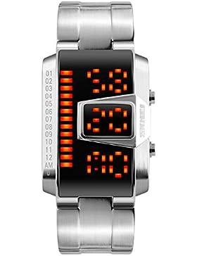 Männer stilvolle LED-Digital-Multifunktions-Uhr-Silber-Edelstahl-Band elektronische Studenten beobachten