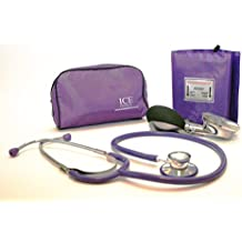 Aneroid Purple Sphygmomanometer With 1 Adult Cuff and Purple Stethoscope - Blood Pressure Monitor Kit by ICE Medical