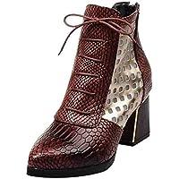 LILICAT❋ Liquidación Moda Piel de Serpiente Botas de tacón Alto Zapatos de Mujer Botines de Serpiente Tacones Altos Botas Cortas Punta Estrecha Zapatos de Invierno Mujer
