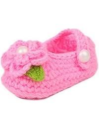 Y-BOA – Chaussures/Chausson Hiver Tricoté Bébé Fille/Garçon 0~18 Mois Laine Souple Rose - Antidérapant